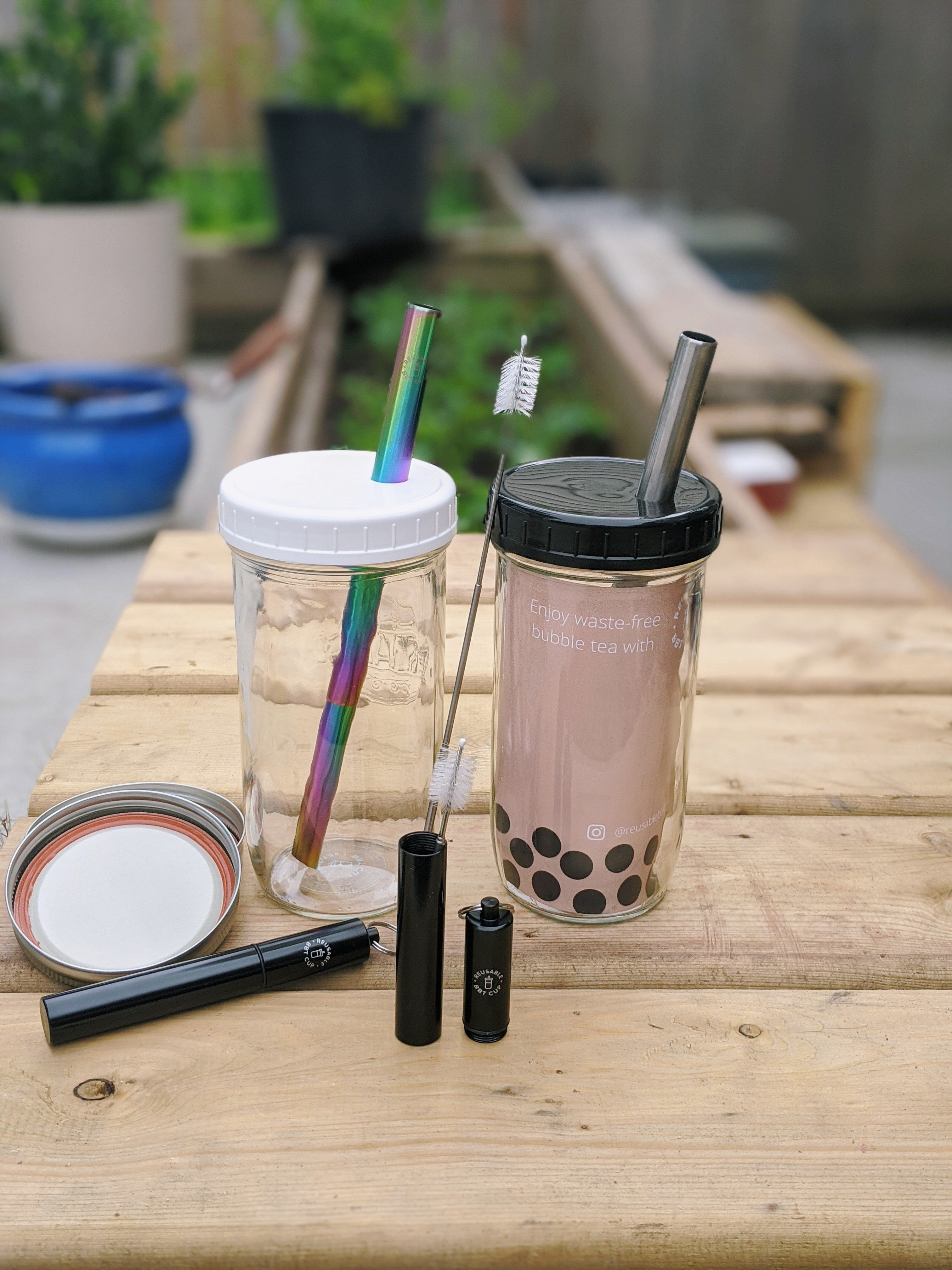 Reusable Bubble Tea Cup with Collapsible Straw