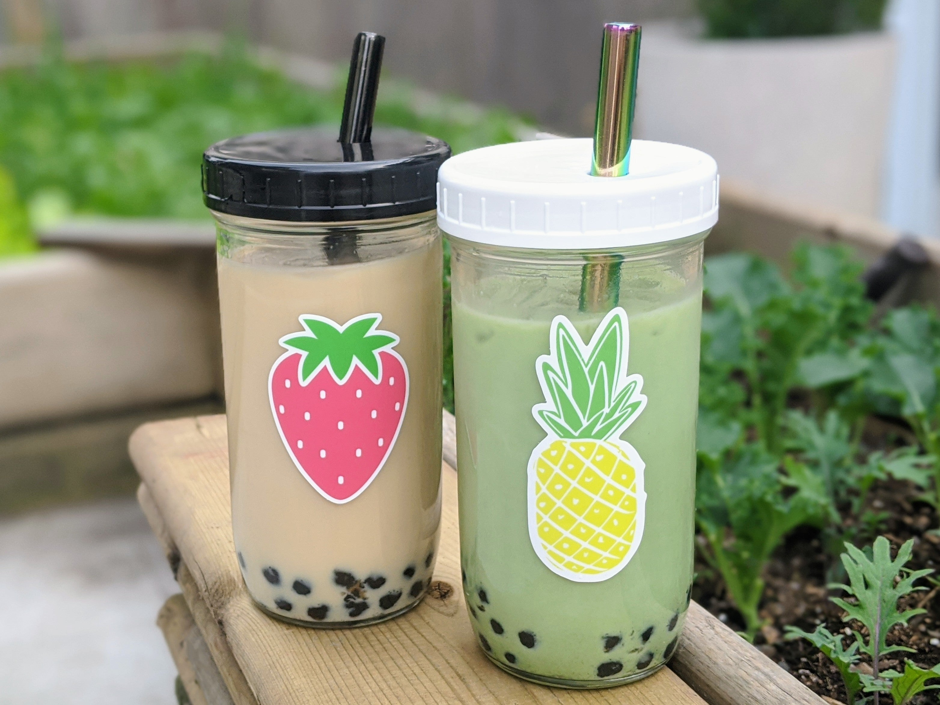 2-PACK Reusable Bubble Tea Cup (Strawberry/Pineapple)