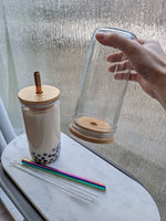 PRE-ORDER 2 PACK: Premium Reusable Bubble Tea Cups with Bamboo Lids