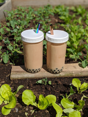 2-PACK Reusable Bubble Tea Cups (White Lids)
