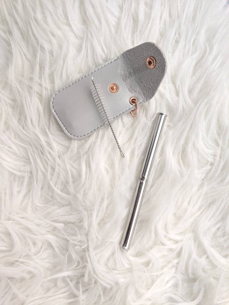 Telescopic Collapsible Stainless Steel Straw in a Vegan Leather Keychain Case