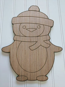 Penguin Wood Cutout - Various Sizes
