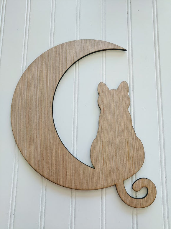 Cat on a Moon Wood Cutout