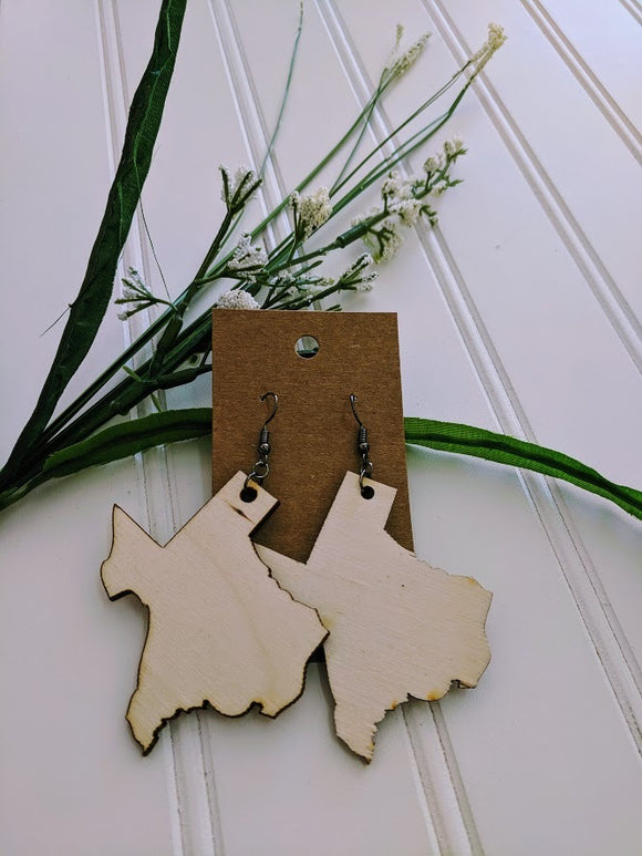 Texas - Laser cut wood earrings - 2