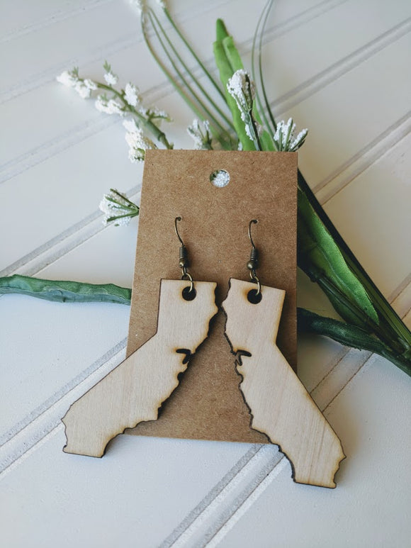California - Laser cut wood earrings - 2