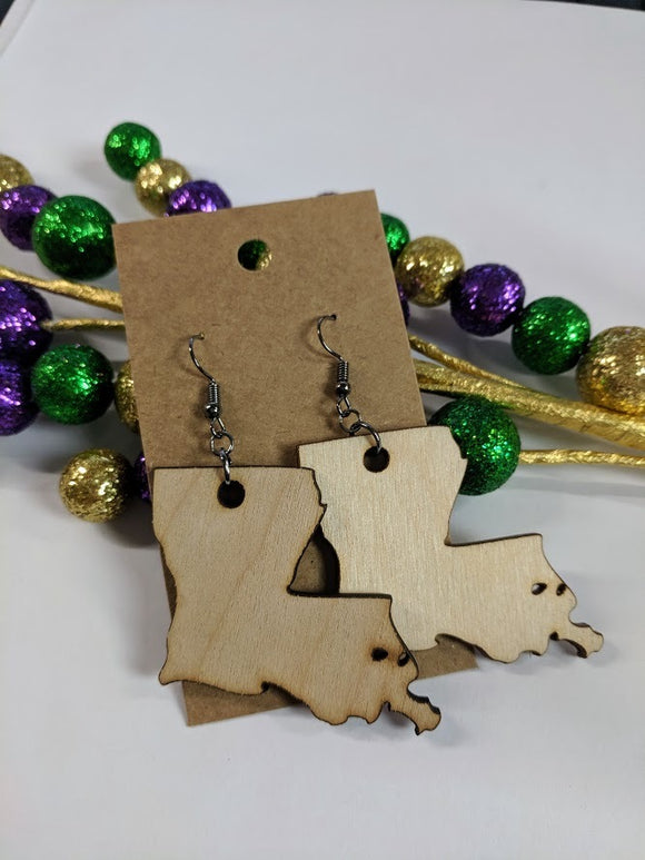 Louisiana - Laser cut wood earrings - 2