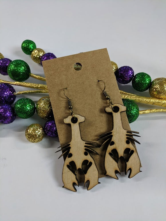 Crawfish - Laser cut wood earrings - 2