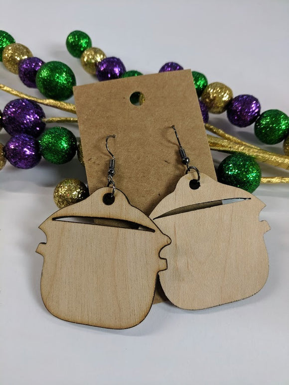 Crawfish Boil Pot - Laser cut wood earrings - 2