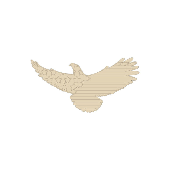 American Flag Eagle Wood Cutout- Various Sizes