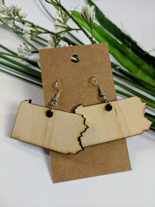 Pennsylvania - Laser cut wood earrings - 2""
