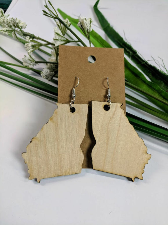 Georgia - Laser cut wood earrings - 2