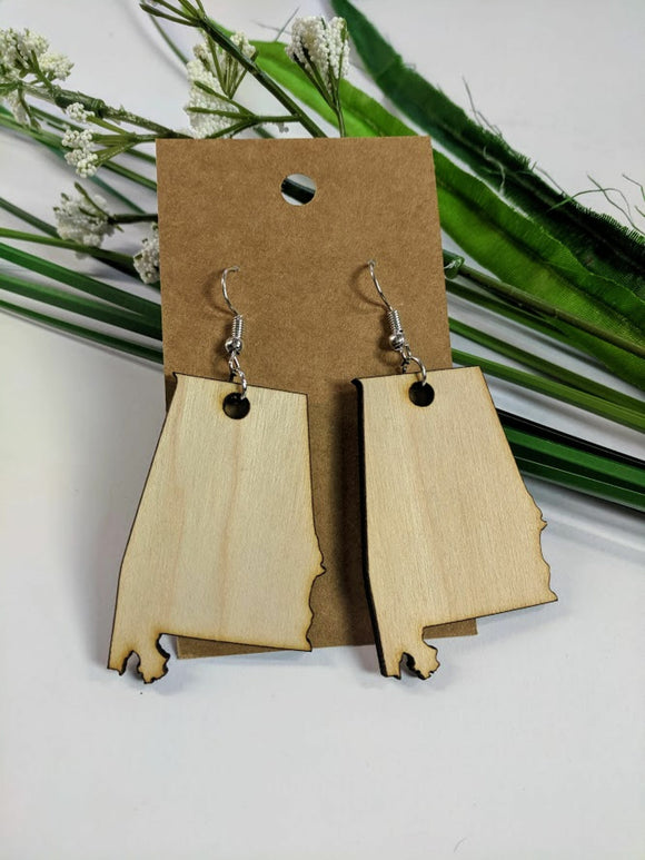 Alabama - Laser cut wood earrings
