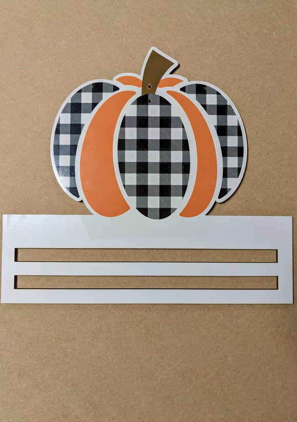 Buffalo Check Pumpkin Printed Wreath Rail