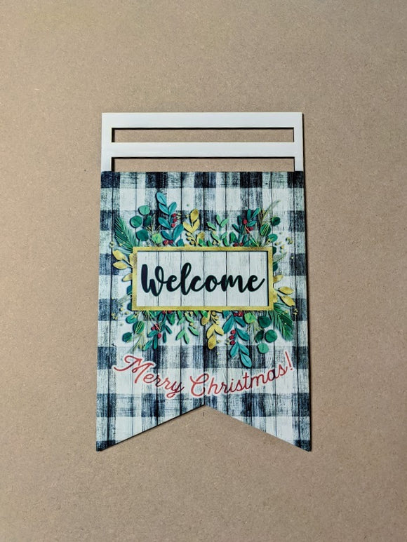 Merry Christmas Welcome Printed Wreath Rail