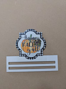 Happy Fall Buffalo Check Wreath Rail