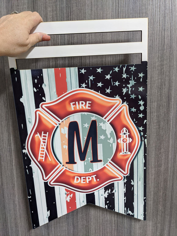 Fire Flag Bunting Printed Wreath Rail - monogram