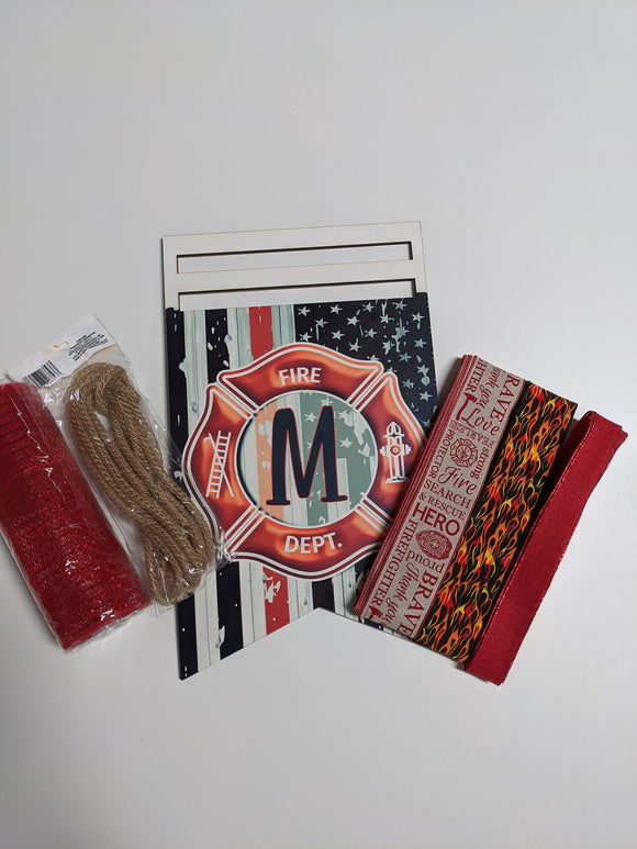 Fire Fighter Bunting Wreath Rail Kit