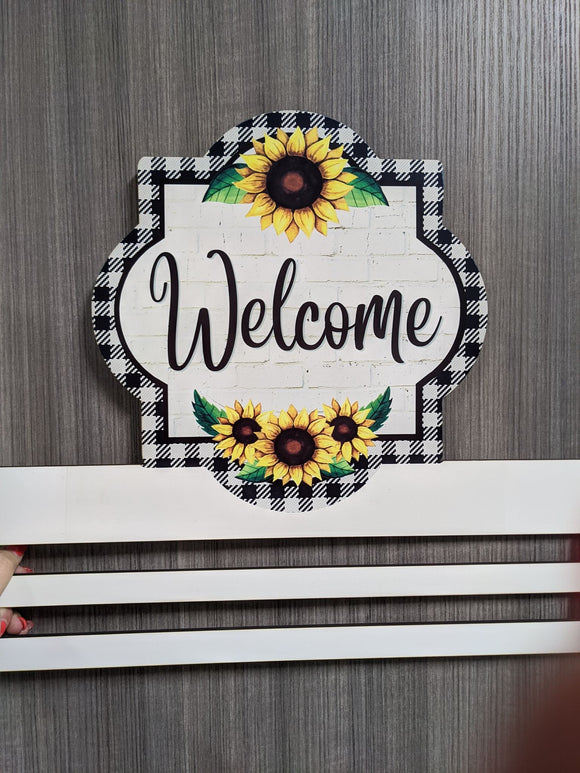Welcome Sunflower Printed Wreath Rail