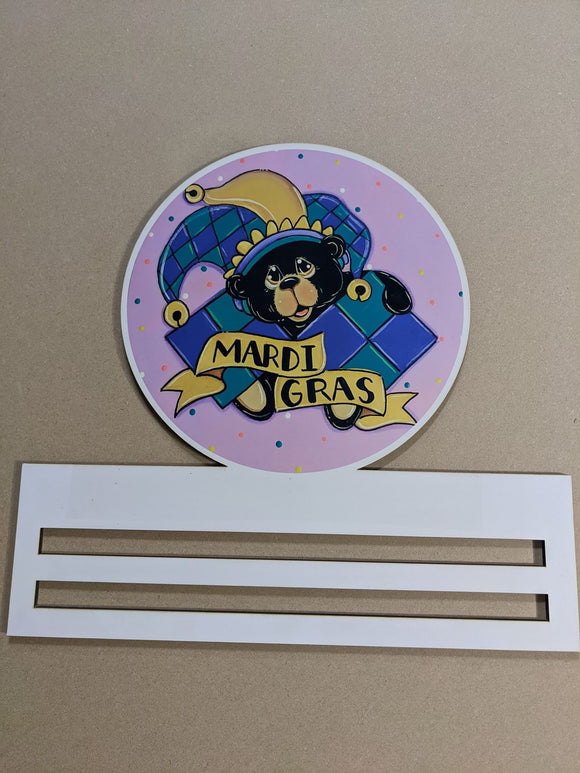 Mardi Gras Bear Printed Wreath Rail