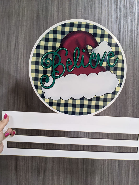 Believe Santa Hat Printed Wreath Rail