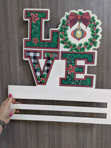 Love Poinsetta Printed Wreath Rail