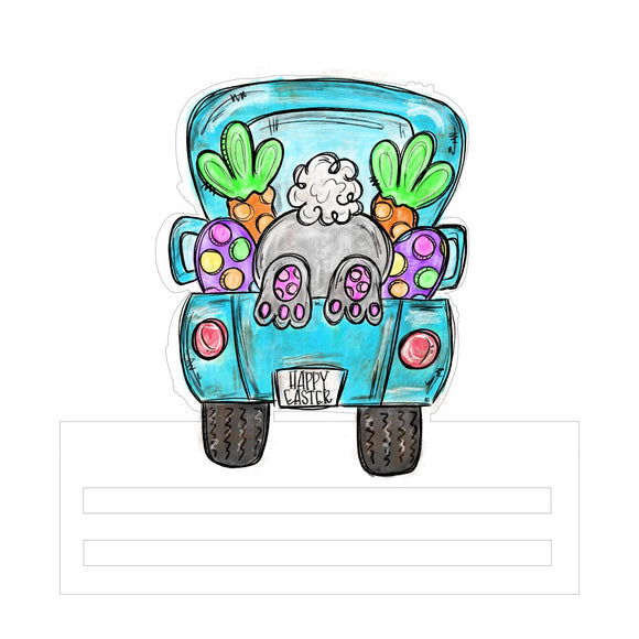 Bunny Butt Truck Printed Wreath Rail