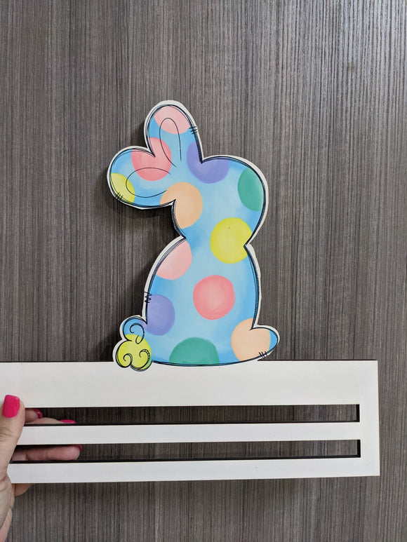 Colored Dots Bunny Printed Wreath Rail