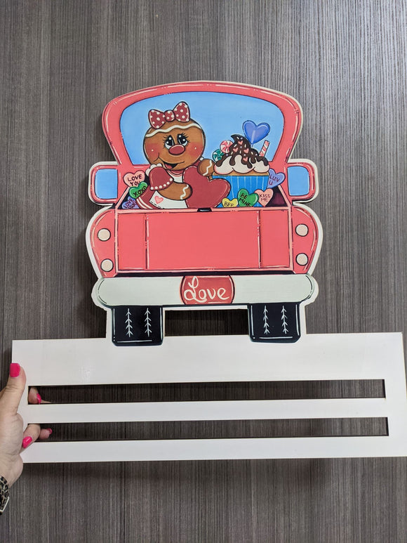 Valentines Love Truck Printed Wreath Rail