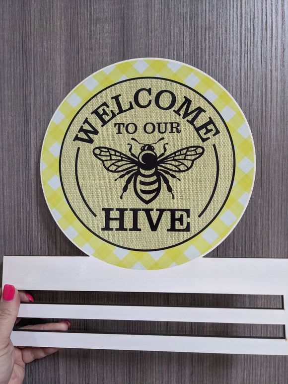 Welcome to our Hive Printed Wreath Rail