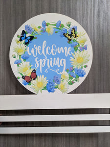 Welcome Spring Flowers Printed Wreath Rail