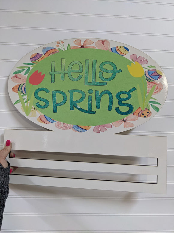 Hello Spring Oval Printed Wreath Rail