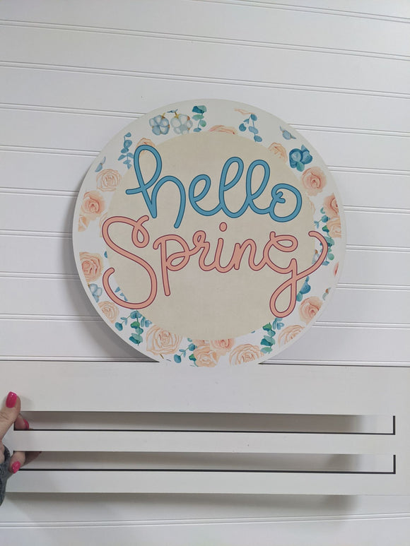 Hello Spring Flower Printed Wreath Rail