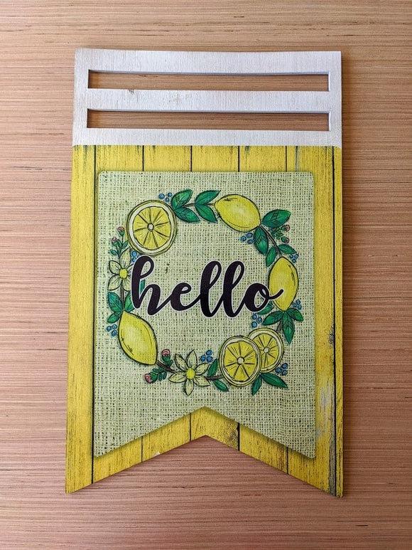 Hello Lemon Printed Wreath Rail