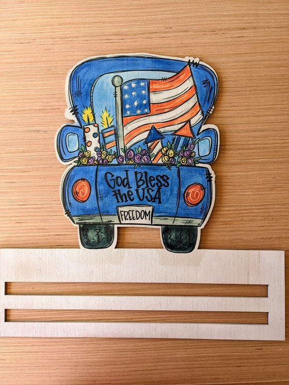 God Bless the US Truck Printed Wreath Rail