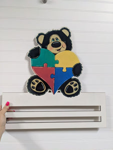 Kristi Welcome Autism Bear Wreath Rail