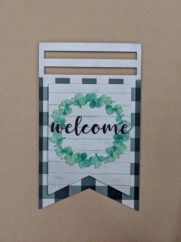 Welcome Wreath Bunting Printed Wreath Rail
