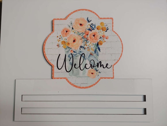 Welcome Flowers Quatrefoil Printed Rail
