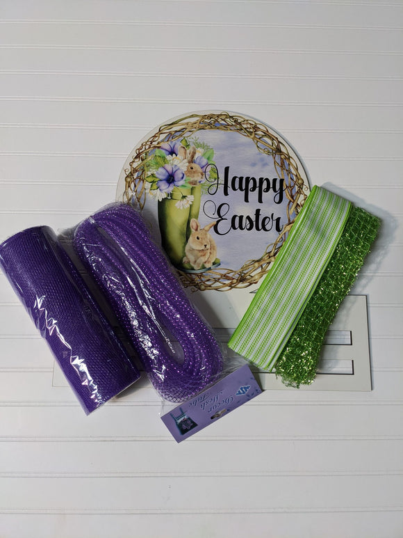 Happy Easter Grapevine Wreath Rail kit