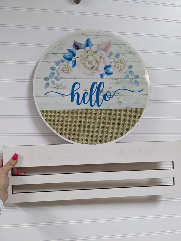 Hello Burlap and Flowers Printed Wreath Rail
