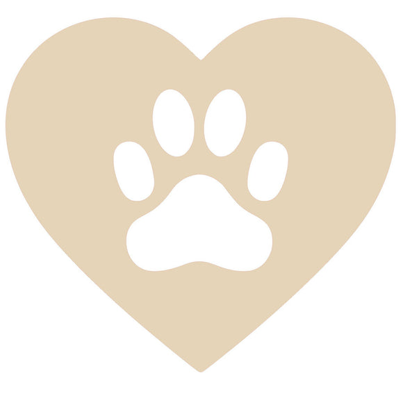 Heart Paw Wood Cutout