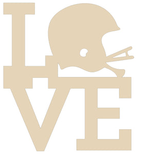 Love football helmet wood blank - 12""