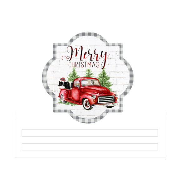 Christmas Red Truck Printed Wreath Rail