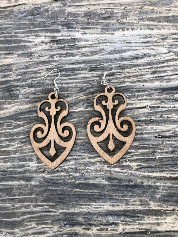Damask Style 1 - Laser cut wood earrings