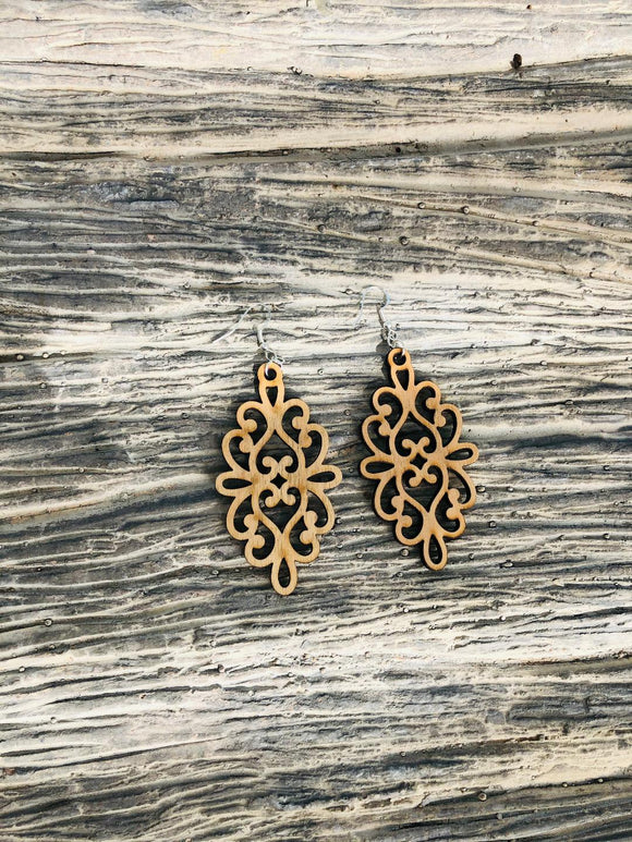 Damask Style 2 - Laser cut wood earrings