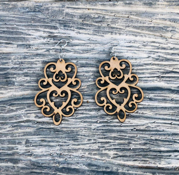 Damask Style 3 - Laser cut wood earrings