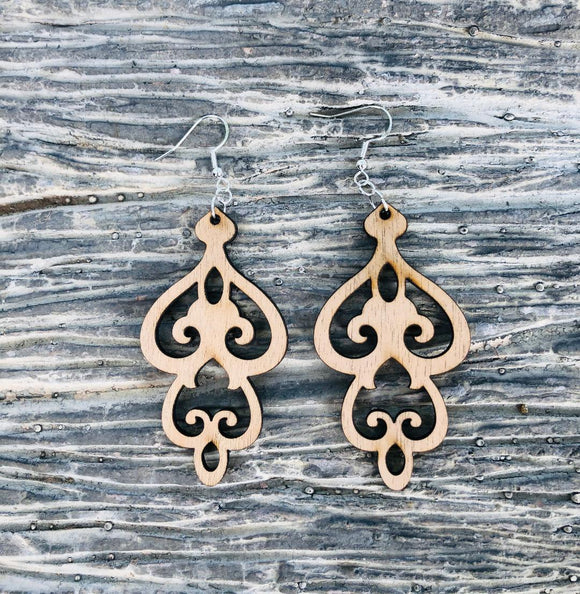 Damask Style 4 - Laser cut wood earrings