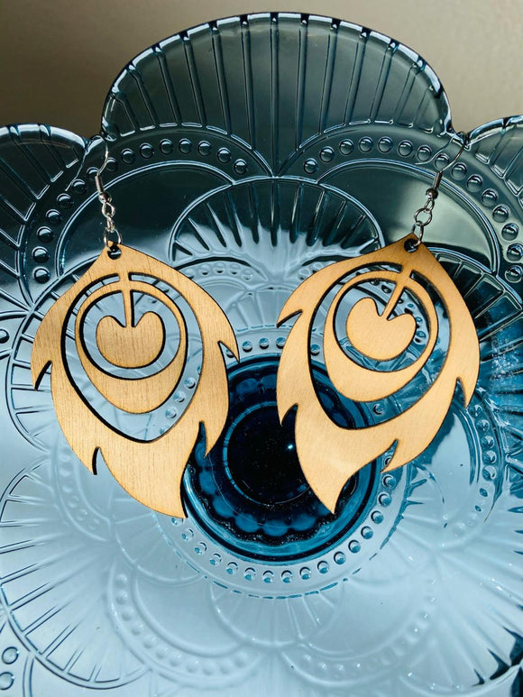 Feather style 1 - Laser cut wood earrings