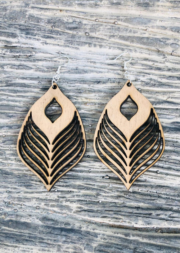 Feather style 2 - Laser cut wood earrings