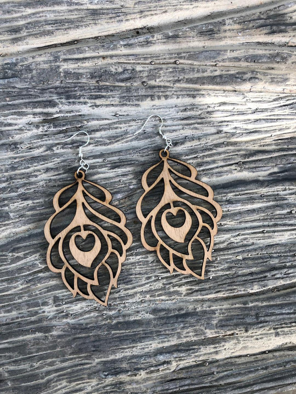 Feather style 3- Laser cut wood earrings