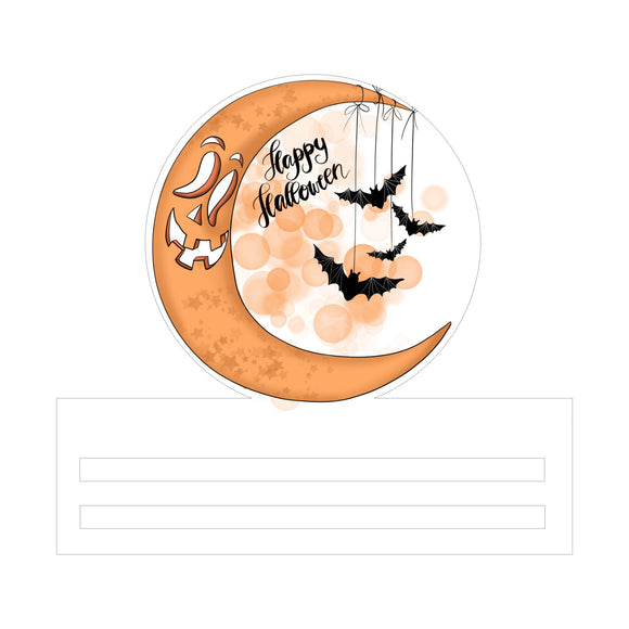 Happy Halloween Moon Printed Wreath Rail